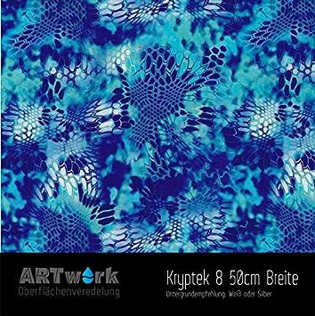 Wassertransferdruck Folie WTD Chrome Carbon Blue 1m x 50cm Breite