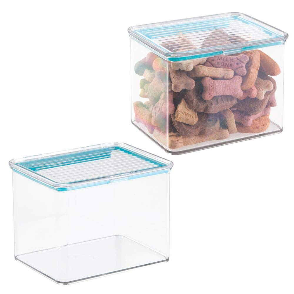 mDesign Airtight Stackable Plastic Kitchen Cabinet Pet Food Storage Container - Attached Lid - Compact Bin for Pantry, Refrigerator, Freezer - BPA Free, Food Safe - Holds 2 Quarts, 2 Pack - Clear