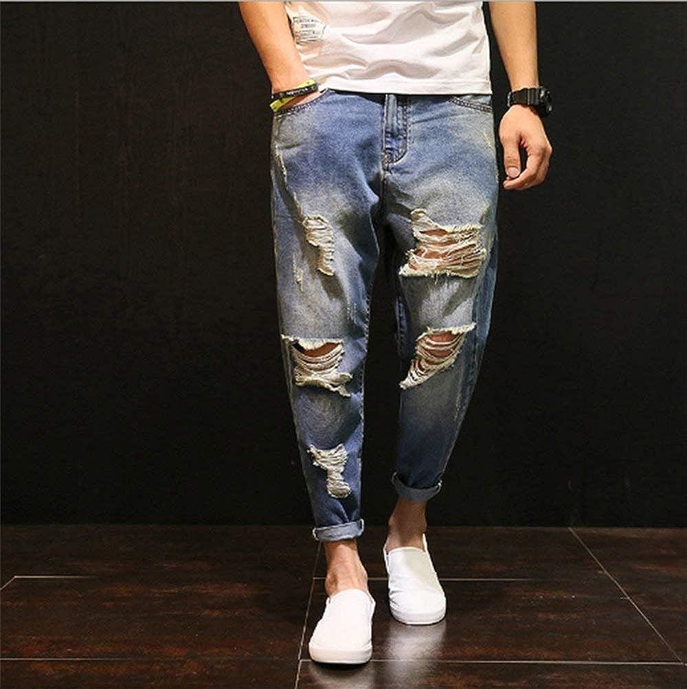 Moda Uomo Jeans Strappati Jeans BT Pantaloni Jeans Taglie Comode Larghi Larghi Pantaloni Micro T Pantaloni Jeans Strappati Pantaloni Harem Abiti