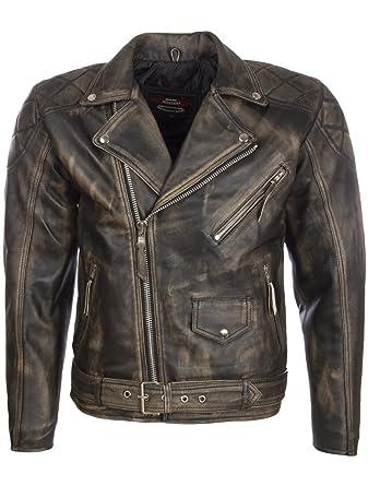 edc0783e3e36 Aviatrix Uomo Vera Pelle Vintage Look Giacca di Biker Moda con Cintura