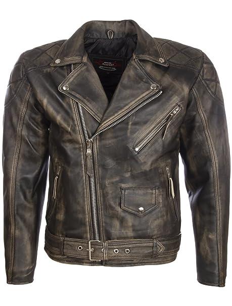 Aviatrix Hombres Cuero Real Aspecto Vintage Cinturón Chaqueta De Moto Moda