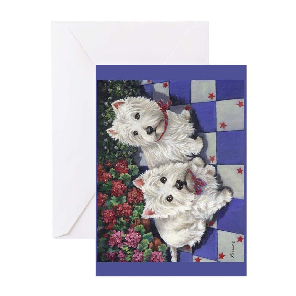 Birthday Card Glossy CafePress WESTIE SUMMER BREEZE Greeting Card 10-pack Note Card with Blank Inside