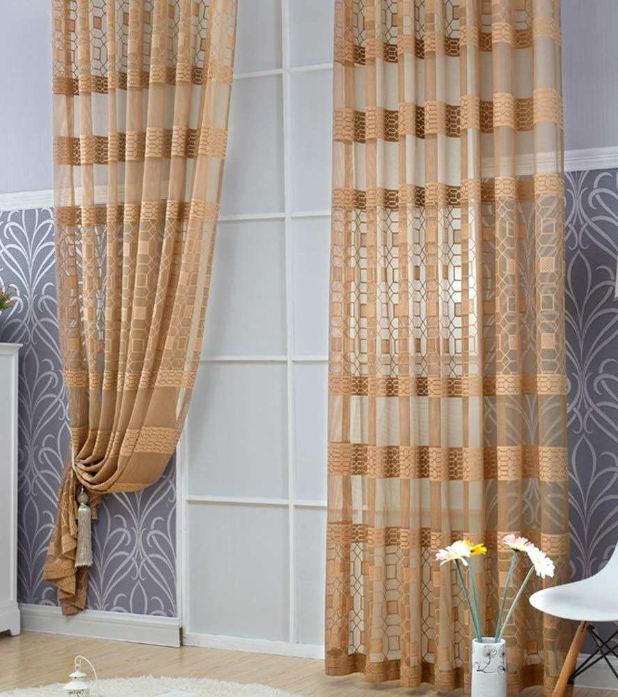 Aside Bside Octagon Jacquard Transparent Window Decoration Rod Pocket Top Fashion Style Sheer Curtains For Sitting Room Houseroom and Child Room (1 Panel, W 52 x L 63 inch, Coffee)
