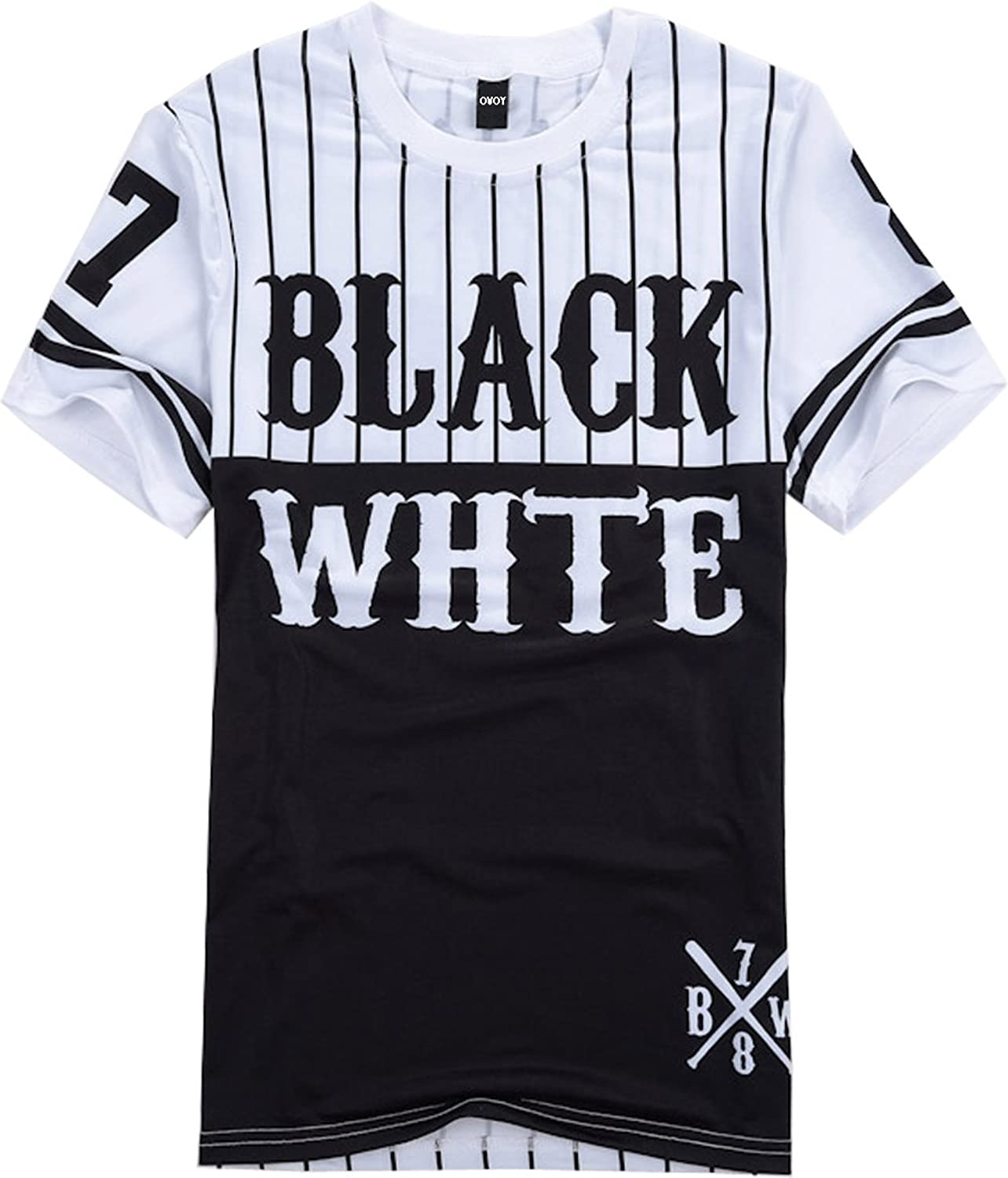OVOY Mens Hipster Hip Hop Black and White Striped Baseball T shirt ...