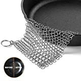 Cast Iron Cleaner OMOCOOK XL 8x6 Inch Premium Stainless Steel Chainmail Scrubber for Cast-Iron Skillet Pan Wok Griddle Waffle Iron Pans Scraper Cast Iron Grill Scraper Skillet Scraper