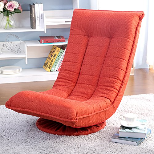 Merax Swivel Video Rocker Gaming Chair Adjustable Angle Chair Folded Floor Chair, orange