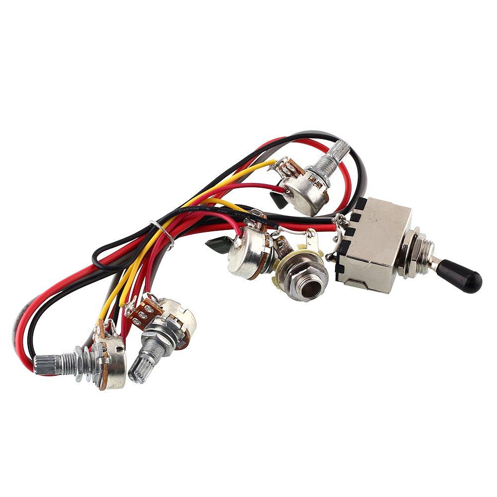 Forfar 2v 2T Faisceau de câblage 3 Way interrupteur à bascule 500k Pots pour guitare double Humbucker FF-51179