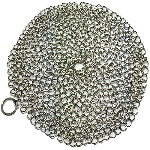 Apollo Premium Cast Iron Skillet Cleaner Stainless Steel Chainmail Scrubber Large Circular Wire Metal Pot Cleaner, Made of Rust Proof Chain Mail