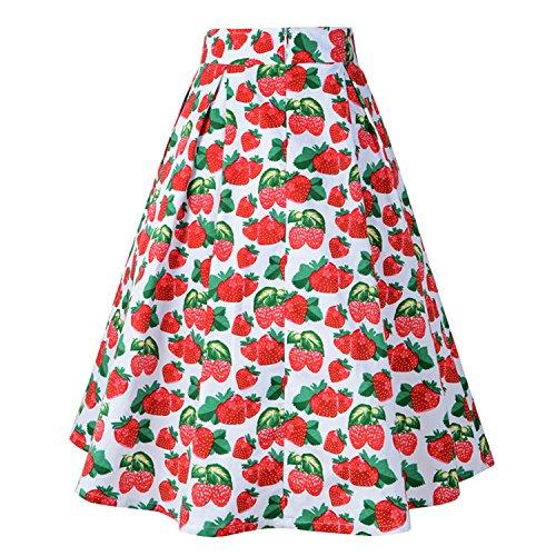 Vintage Pleated Skirt - CHNS Womens Vintage A-line Printed High Waist Pleated Flared Midi Skirts