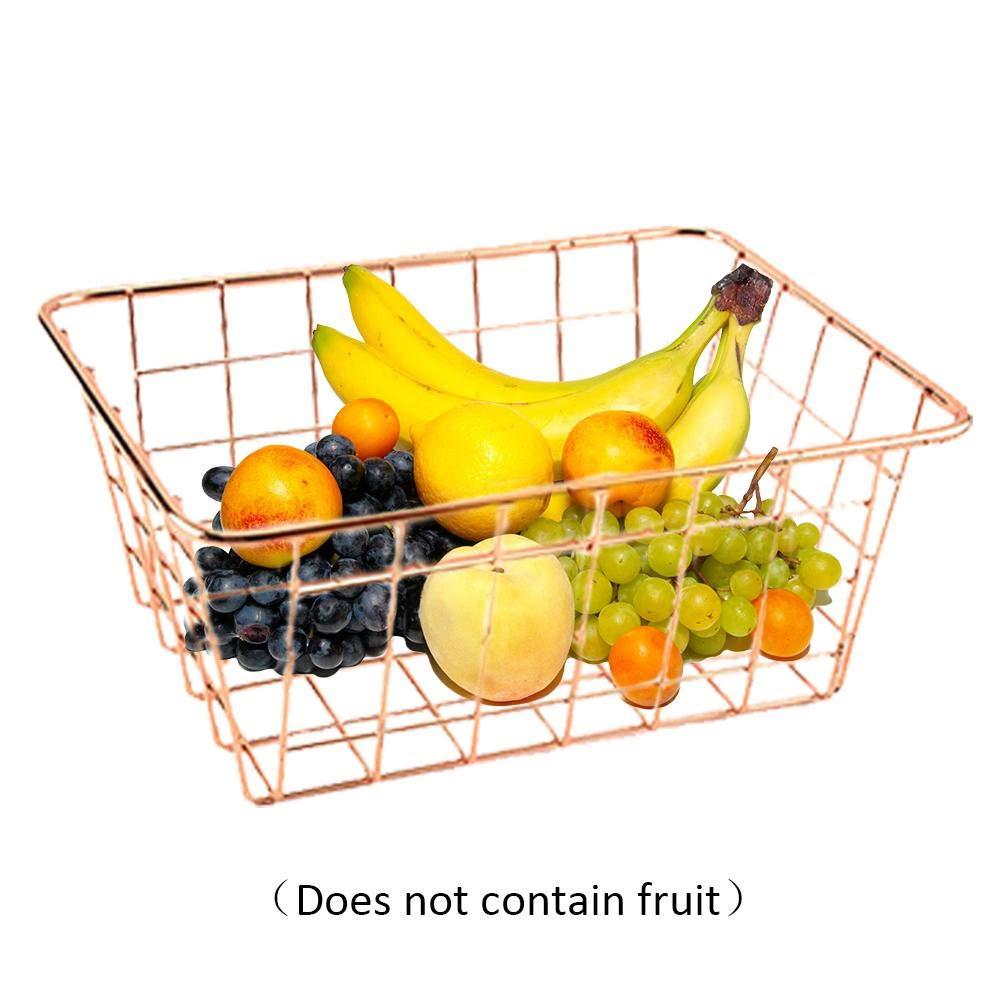 G-wukeer Panier de Fruits, Corbeille à Papier Nordique carrée Or Rose pour la Maison, Le Bureau, Le Garde-Manger, la Chambre à Coucher, Les placards