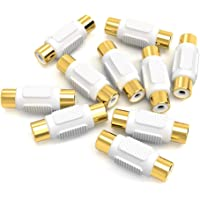 Electop 10 Pack Audio Video RCA Female to Female Coupler Adapter