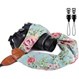 Elvam Scarf Camera Neck Shoulder Strap Belt for DSLR, SLR, DC, Instant Camera, Fujifilm, Nikon, Canon, Sony, Olympus, Samsung, Pentax ETC, Retro Green Floral