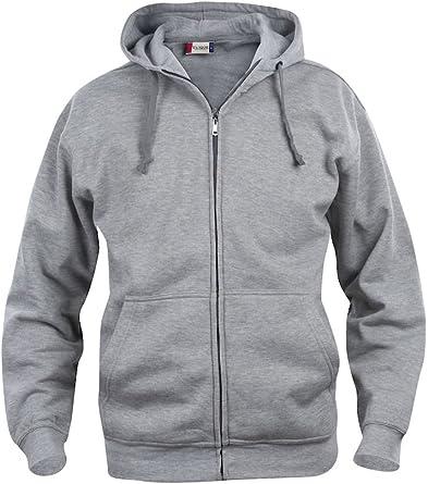 Sweat à capuche zippé Uni Sans logo Poids moyen S 3XL
