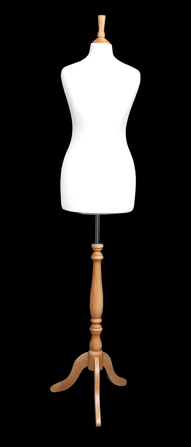 DELUXE Size 8 Female Dressmakers Dummy Tailors Mannequin Bust CREAM Jersey BEECH Effect Tripod Stand The Shopfitting Shop