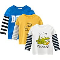 amropi Dinosaurio T-Shirt Bebé Niños Pack de 3 Camiseta de Manga Larga Algodón Tops para 1-8 Años