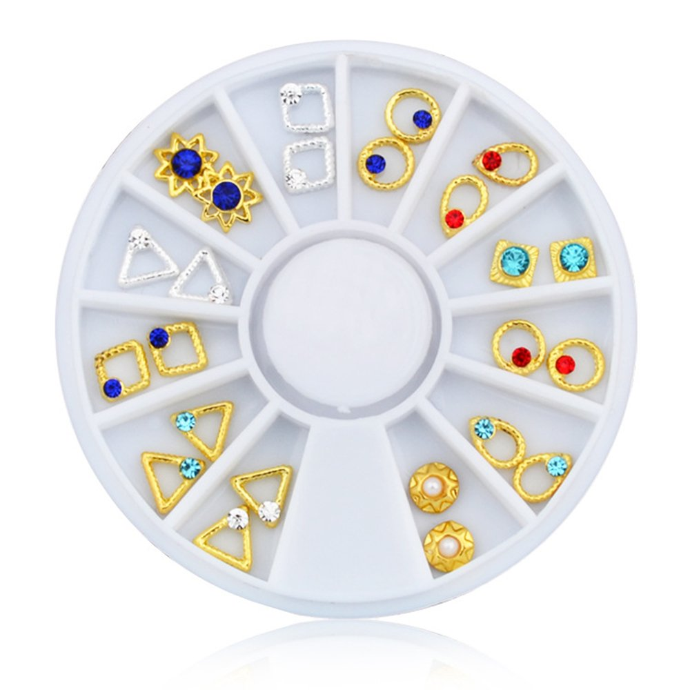 Joyeee 3D Professional Manicure Nail Art Decorations Rhinestone Wheel Set Mix Design Nail Glitter DIY Decor Accessories #8