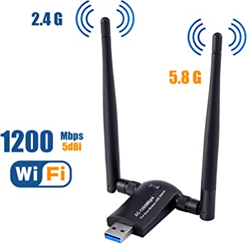 1200mbps Wifi Dongle USB Adapter Wireless W// Dual Antenna High Speed 5G//2.4G US