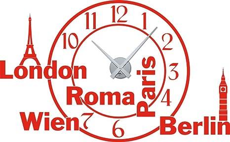 Adesivo da parete orologio da parete orologio soggiorno Città ...