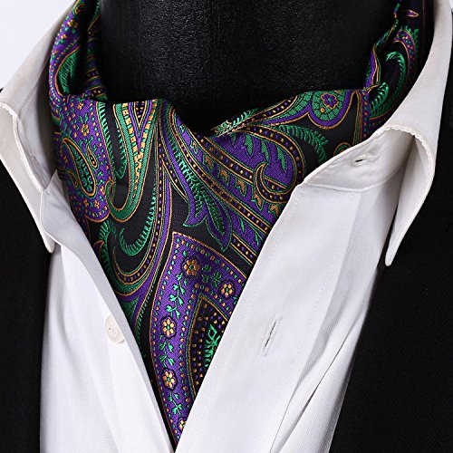 Floral Men's Jacquard Ascot Green Set HISDERN Black Purple Woven 5Bx4AU