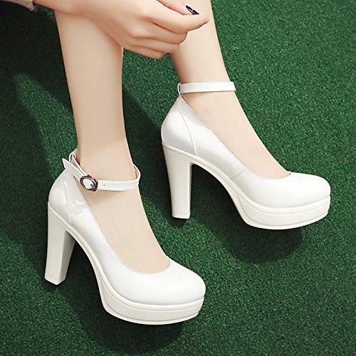 de zapatos Cabeza 40 alto T correa con solo tacón blanco con impermeable Taiwán modelo femeninos ranurada zapatos redonda alto 10cm grueso de de blancos cuero zapatos RYSwqFYr1