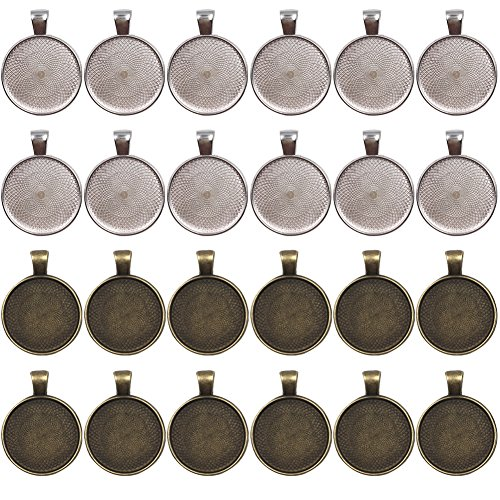 Brass Pendant Jewelry (Dcatcher 24 PCS Bezel Pendant Trays Round Cabochon Settings Trays Pendant Blanks, 25mm Diameter, Antique Brass and Silver Colour)