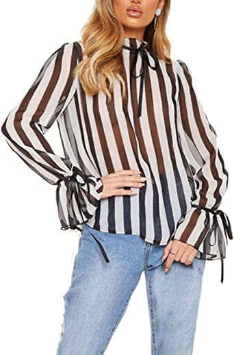 Camisas Mujer Camicia Bluse Primavera Otoño Flecos Stand Cuello Basic Tops Fashion Elegante Trompeta Manga Perspectiva Blusas Blusa Ropa: Amazon.es: Ropa y accesorios