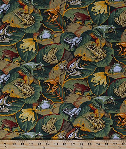 - Cotton Frogs Allover Frog Bullfrogs on Leaves Amphibian Animal Toads Jungle Tropical Botanical Green Cotton Fabric Print by The Yard (cp38162)