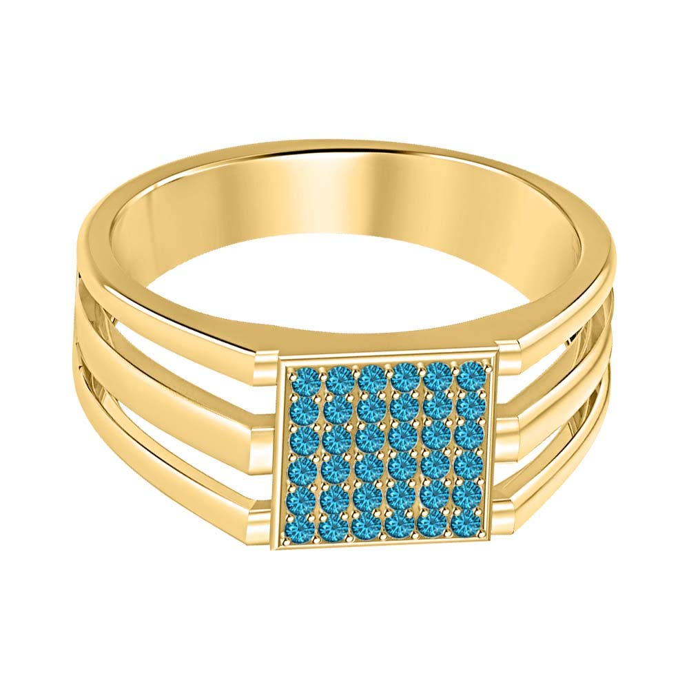 SVC-JEWELS 14k Yellow Gold Plated 925 Sterling Silver Swiss Blue Topaz Cluster Engagement Wedding Band Ring Mens