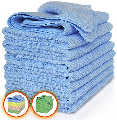 Vibrawipe Microfiber Cloth – Pack of 8 Pieces (All-Blue) Microfiber Cleaning Cloths, HIGH ABSORBENT, LINT-FREE, STREAK-FREE, For Kitchen, Car, Windows - Blue Piece Cloth