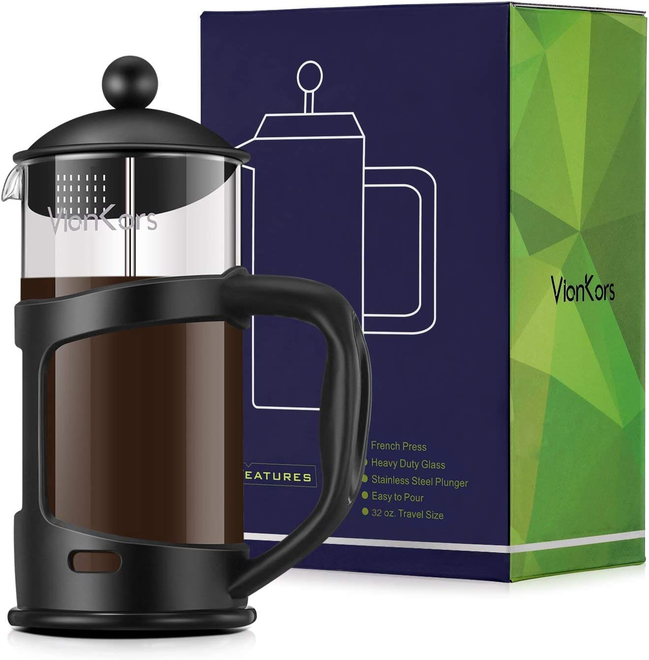 Glass French Press Coffee Maker – VIANKORS Coffee Tea Maker Family Size 34 oz, 1000ml Classic Collection Heat Resistant Borosilicate Glass Bonus Stainless Steel Screen Easy to Clean