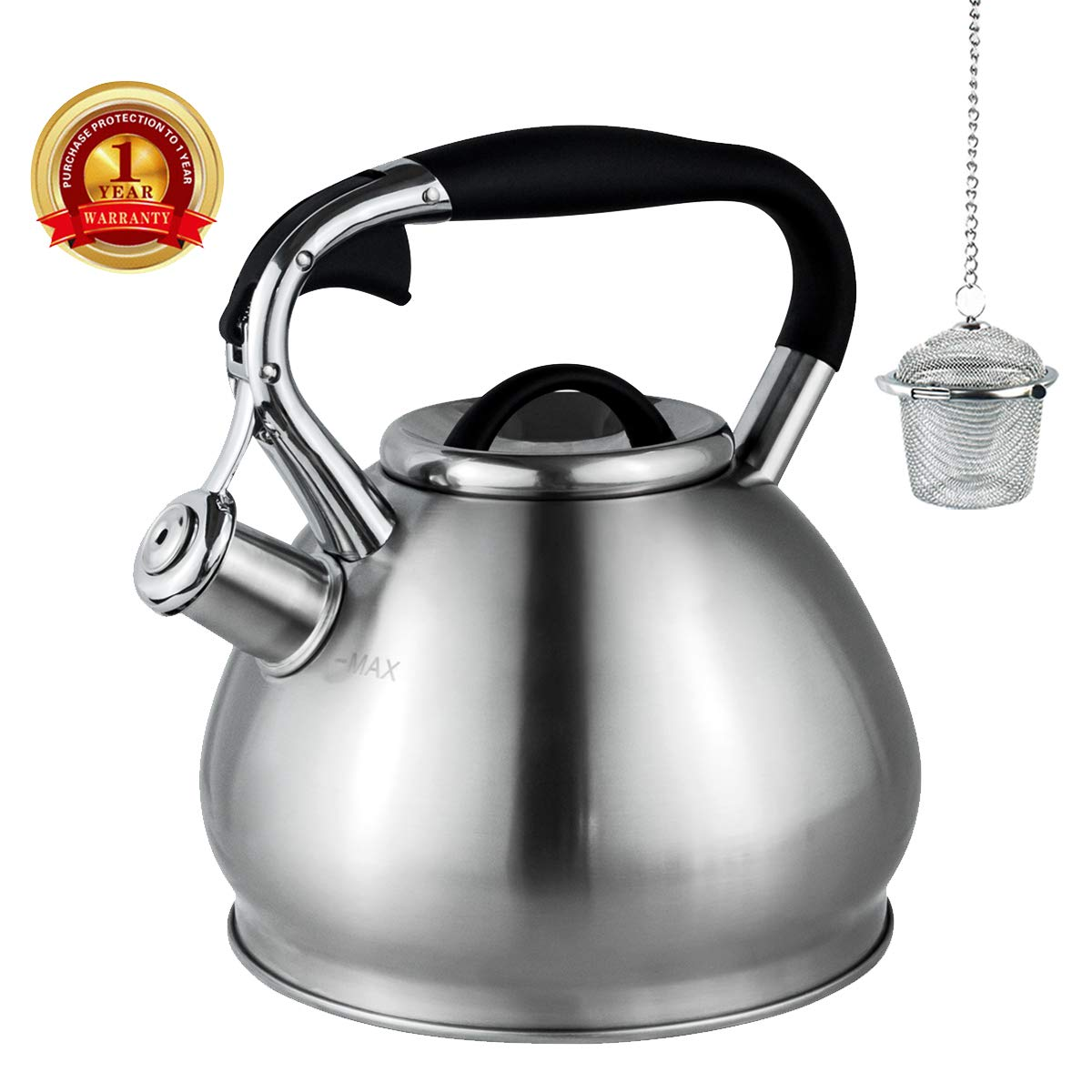 Whistling Tea Kettles Stovetop with Boils Faster Bottom,Surgical Brushed Stianless Steel Finish Whistling Teapot, 3 Quart,1YR Warranty, 1 Tea Maker Infuser Included by Kmatee by Kmatee