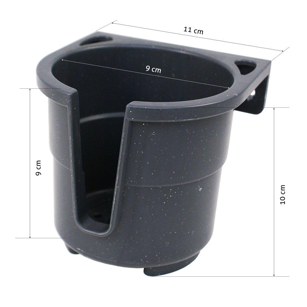 Lalizas in den Farben Grau oder Wei/ß inkl Flaschen Getr/änke-Halterung f/ür Auto Camping bis max Boot breites Einsatzspektrum Grau Dosen Montageplatte KFZ 9 cm Durchmesser