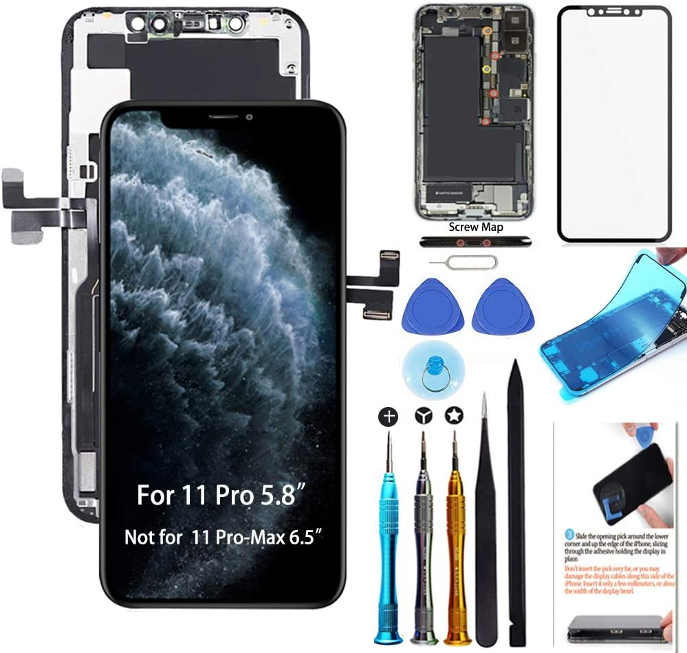 for iPhone 11 Pro Screen Replacement OLED 5.8 inch [NOT LCD] Display 3D Touch Digitizer Frame Assembly Full Repair Kit with Repair Tools, Screen Protector, Instructions