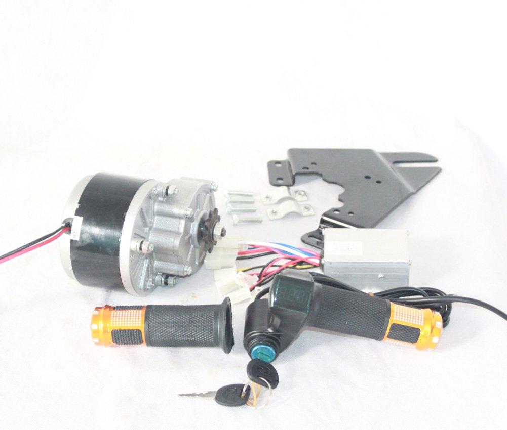 350ワット電気dcギアモーターキットとコントローラとスロットルハンドル付きバッテリー電圧ショーとキースイッチdiy電動車両 [並行輸入品] B077R1BQB8 24V350W with plate 24V350W with plate