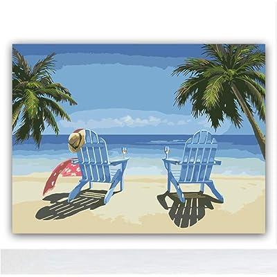 RFGED Colorear Bricolaje Cuadros En Lienzo con Colores Playa Paisaje Marino Estilo Mediterráneo Dibujo Mural Pintura Al Óleo por Números Decoración para El Hogar 40x50cm Enmarcado: Juguetes y juegos