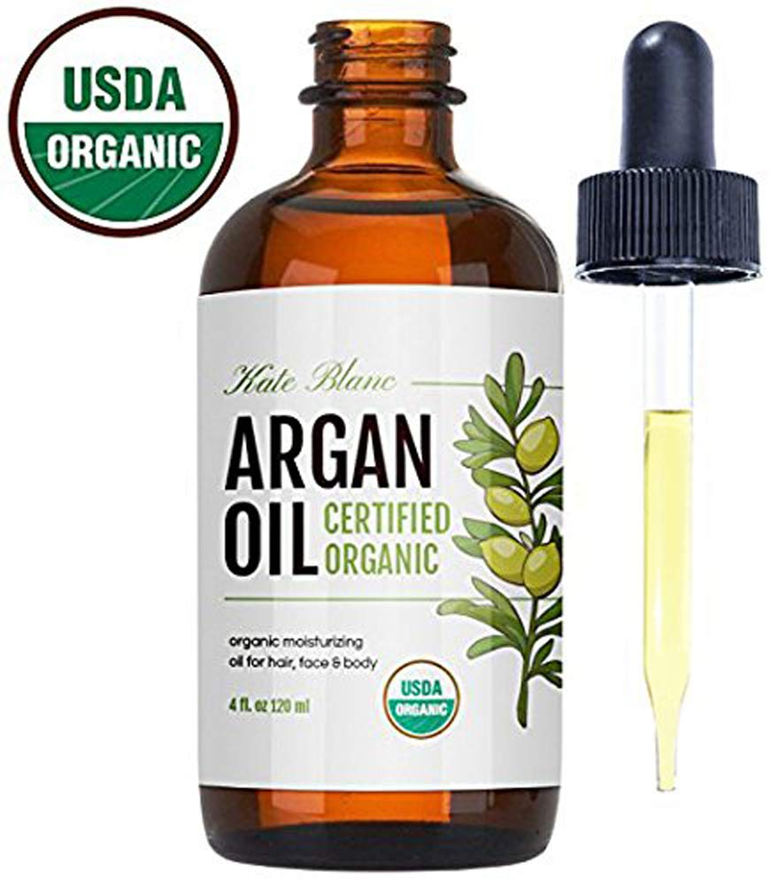 Moroccan Argan Oil (4oz), USDA Certified Organic, Virgin, 100% Pure, Cold Pressed by Kate Blanc. Stimulate Growth for Dry and Damaged Hair. Skin Moisturizer. Nails Protector. 1-Year Guarantee. The Dojo