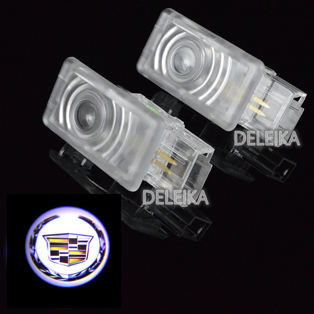 DELEIKA Easy Installation Car Door LED Welcome Logo Projector Ghost Shadow Lights For Cadillac XTS SRX SXT ATS 2-pc Set