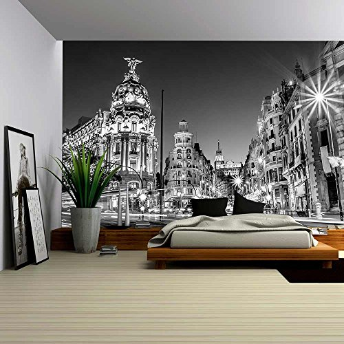 wall26 - Rays of Traffic Lights on Gran Via Street, Main Shopping Street in Madrid at Night Spain, Europe - Removable Wall Mural | Self-adhesive Large Wallpaper - 100x144 inches by wall26