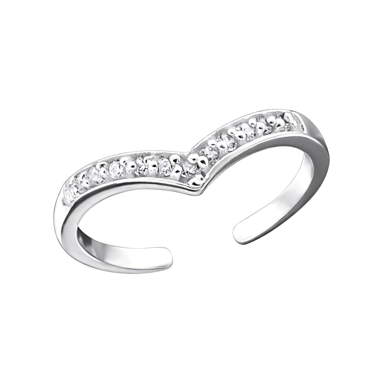 Silvernshine Jewels White Sim. Diamond .925 Sterling Silver Heart Adjustable Toe Ring Women's SNSTR349