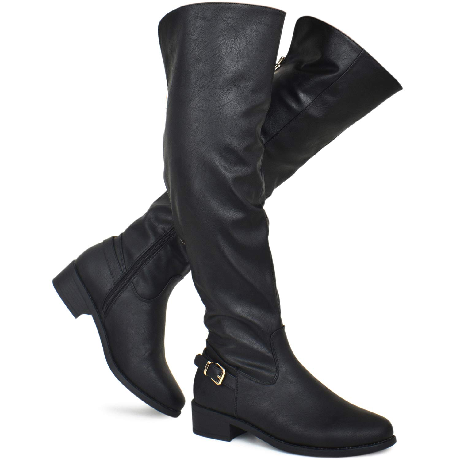 95586efd0a84 Amazon.com: Premier Standard - Women's Lace Up Over Knee High Sexy Boots -  Side Zipper Comfortable Walking Boots: Shoes