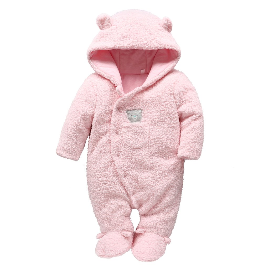 Baby Snowsuits Hooded Rompers Fleece Onesies Bear Pattern Jumpsuit Infant Winter Outfits