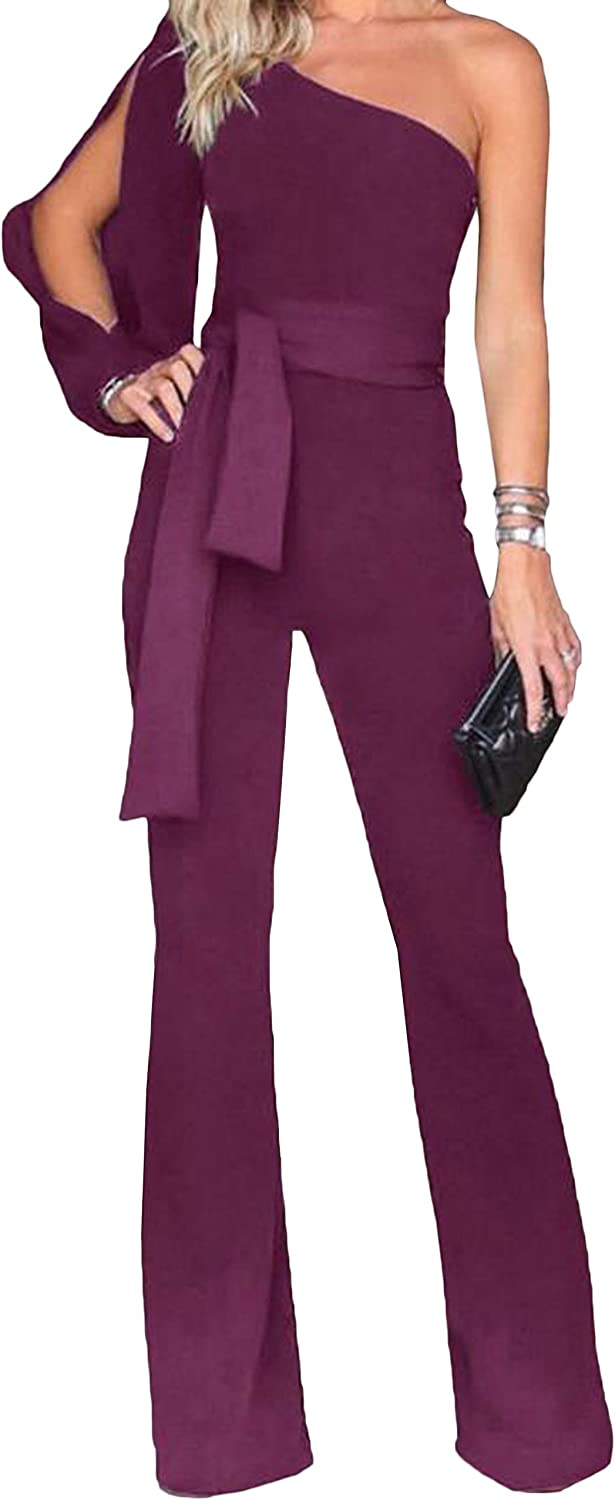 Pandapang Womens Hi-Waist One Shoulder Bell Bottom Pants Tie Rompers Jumpsuits