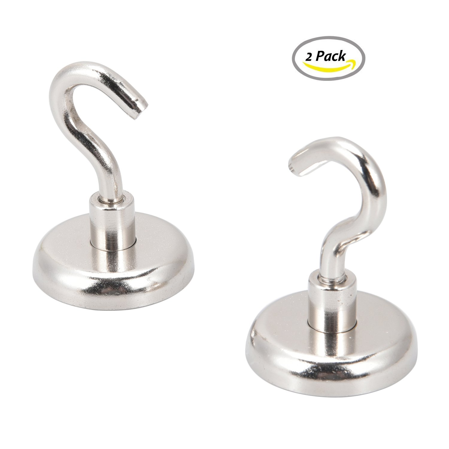 Powerful Strong Magnetic Hooks - The Best Strongest Super Heavy Duty Neodymium Hanging Hooks for Refrigerator And Magnetic or Metal Surfaces,Great Keys Sports Equipment Tools Holder 2 Pack (90lbs) by Ulifestar