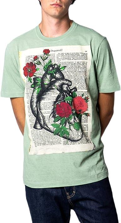 DSquared - Camiseta para hombre con estampado de flores s71gd0761: Amazon.es: Ropa y accesorios