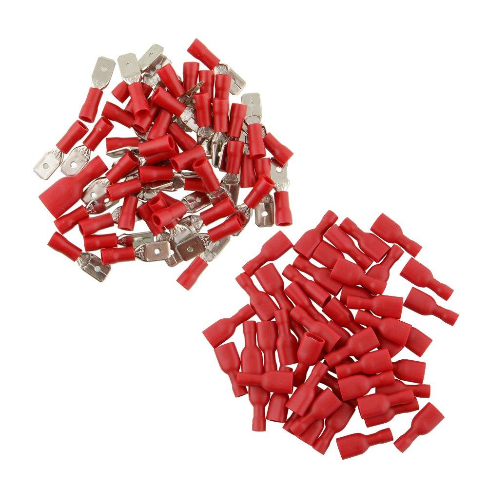 Sedeta® 50pair Red Isolated Red Spade Terminali per connettori per cavi a filo elettrico a crimpare