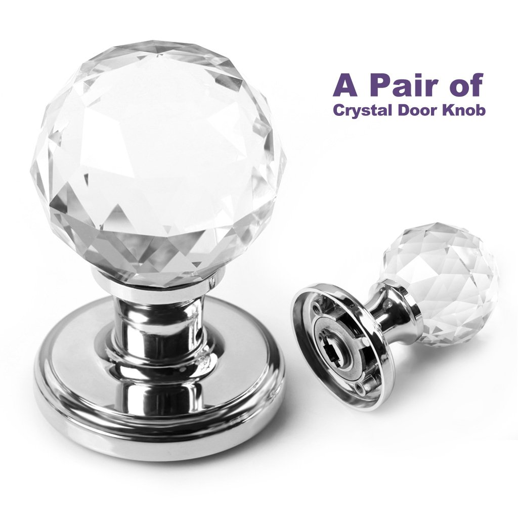 BTSKY(TM) A Pair Of 65mm Clear Extra Large Crystal Glass Door Knob Handle  For Doors: Amazon.co.uk: Kitchen U0026 Home