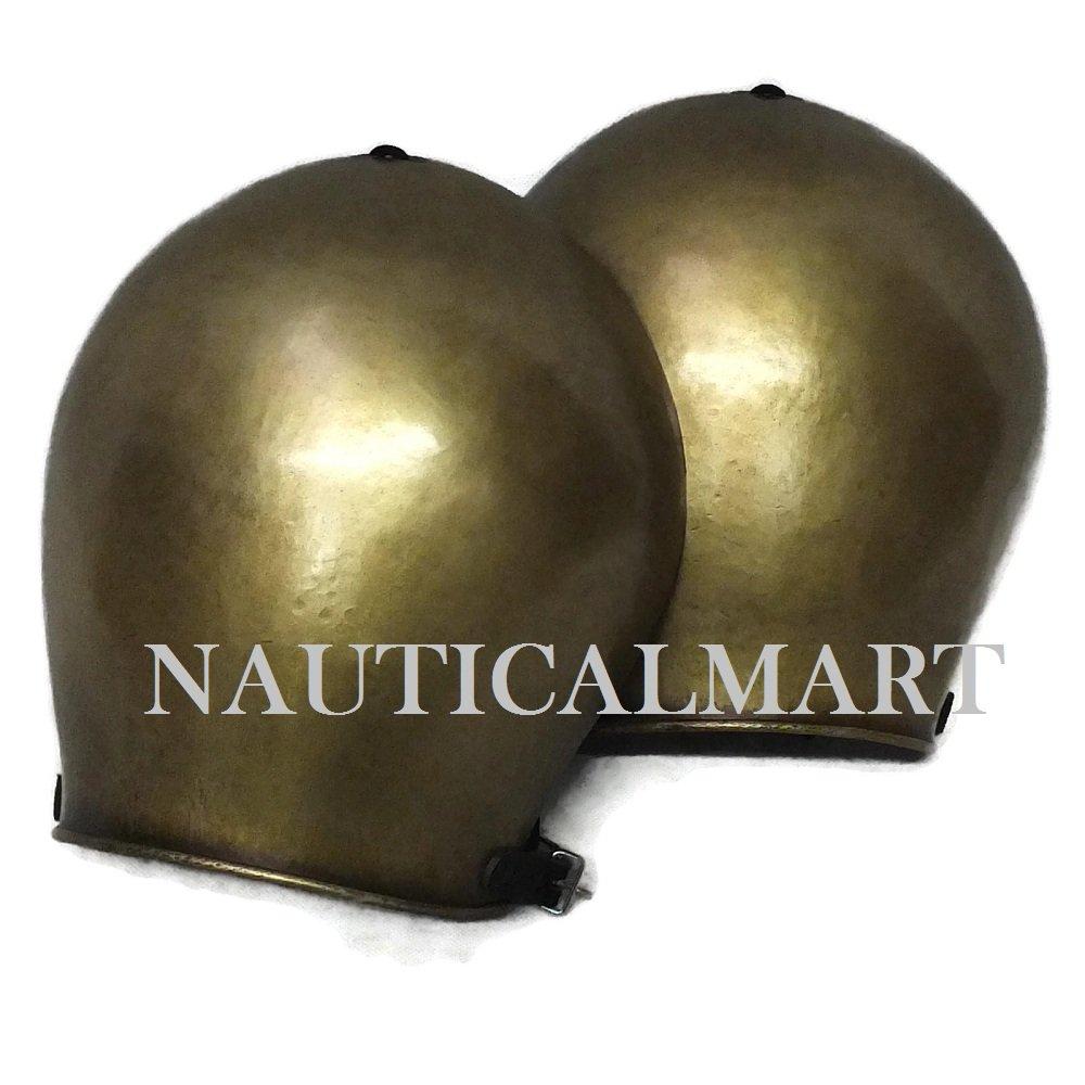 SCA LARP Brass Simple Spaulders Pauldrons