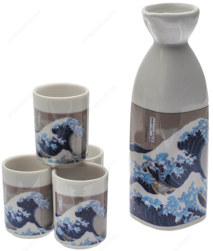 NA C8A631 Japanese Great Wave Sake Set