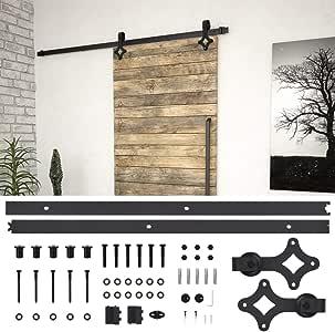 Festnight Kit de Herrajes para Puertas Correderas Herraje para Puerta Corredera Acero Negro 183 cm: Amazon.es: Bricolaje y herramientas