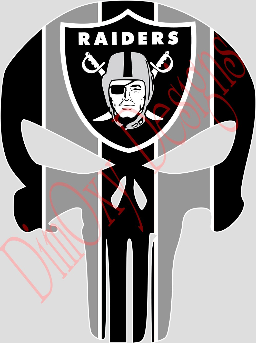 Raiders Punisher (Skull) Full Color Sport Fan Vinyl Decal/Sticker. (SB1) Outdoor Rated for up to 7 Years. Scratch Resistant, UV Resistant. Sized for iPhone, Tablet, etc. 3'' Tall.